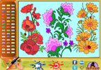 Blooming Flowers Online Coloring Page