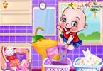 Cute Baby Washing Clothes