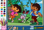 dora e diego para colorir on-line