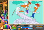 ferb e phineas para colorir on-line