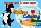 Figaro Cat and Cleo Fish Online Coloring Game