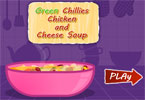 Green Chilies Chicken and Cheese Soup