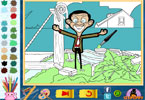 feliz mr bean para colorir on-line