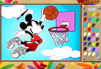 Mickey Basketball Online Coloring Page