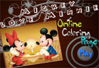 mickey minnie en lnea del amor pgina para colorear