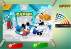 Mickey garage collegato colorare Pagina